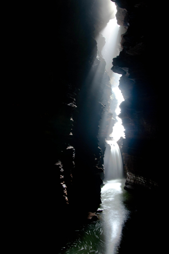 FIrst morning light inside the cave