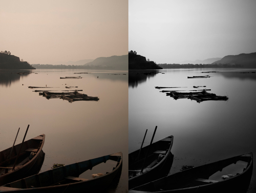 on the left the raw file, on the right the final output