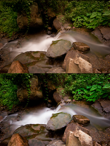 on the top the raw file, on the bottom the final output